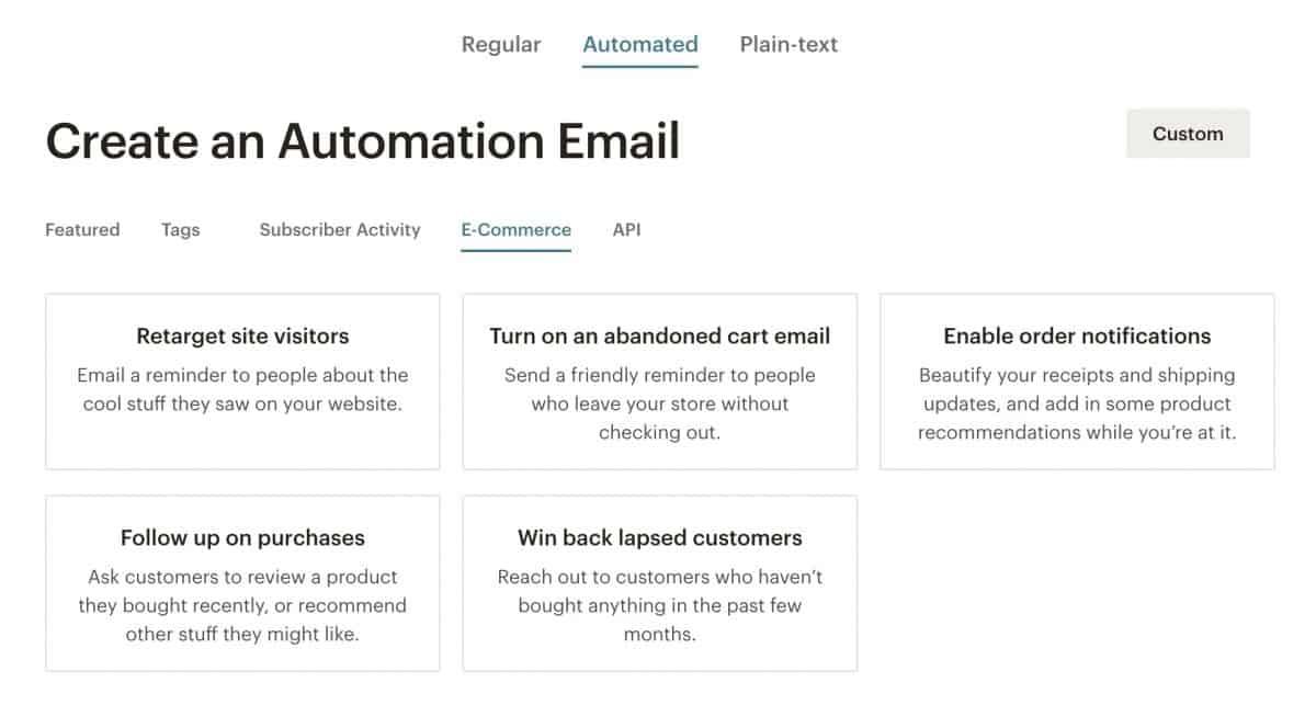 email automation form mailchimp
