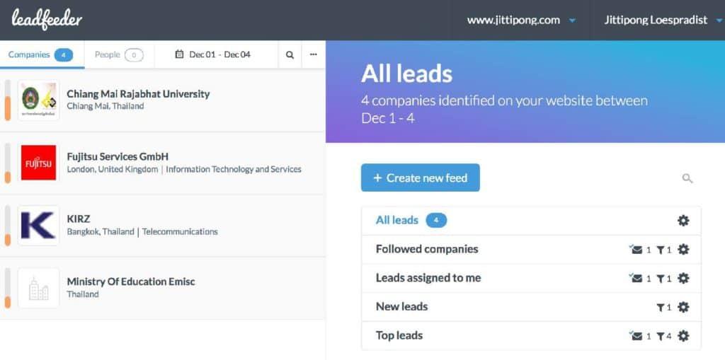 leadfeeder 3rd Parties Data Enrichment Tools